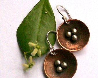 Mixed Metal Round Earrings,  Etched Copper  with Sterling Silver Ball Accents.