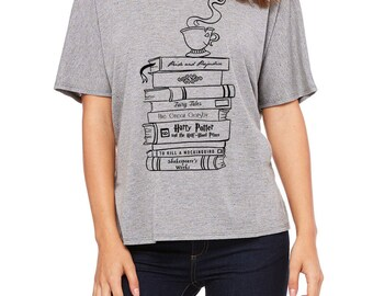Book Lovers / Book Stack for Literature Lovers / Women's Slouchy Scoop Neck Shirt