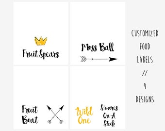 Printable and Customizable Wild One Food Labels, Wild One Food Tents, Wild One Birthday Party, Where The Wild Things Are Birthday Party