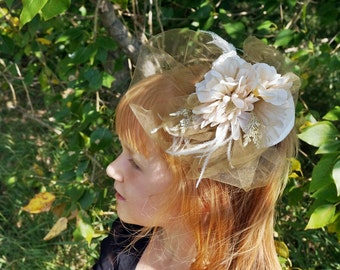 Girls Cream and Gold Ivory Flower Fascinator