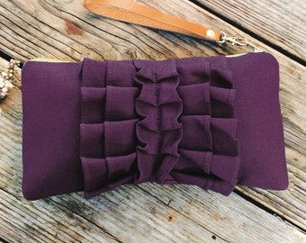 Eggplant Butterfly Ruffle Wristlet With Leather Strap- Linen Wristlet- Birthday Gift Idea for Women
