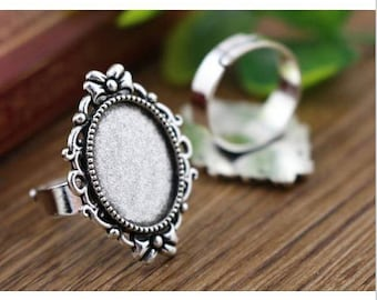 set of 10 blank Adjustable ring antique silver cabochon 13 x 18 mm