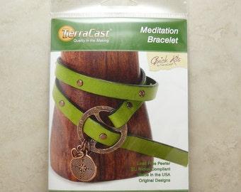 Meditation Bracelet - TierraCast Quick Kit - Leather DIY Copper Labyrinth Heart - American Made Lead Free Pewter - I ship Internationally