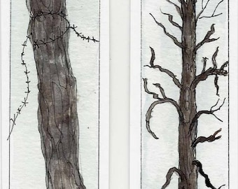 Two Original Watercolor Hand Painted Book Markers - Book Mark - Old Weathered Post and Old Weathered Tree - Original Art - Not a Print