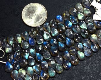 7MMx10MM Blue Flash Labradorite Faceted Pear Briolette Bead 3.5 Inch Strand