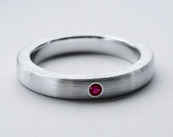 Thin Brushed Ruby Band in Sterling Silver - Ruby Band, Ruby Ring, Sterling Silver Wedding Band, Brushed Band, Brushed Ruby Ring, Ruby Band