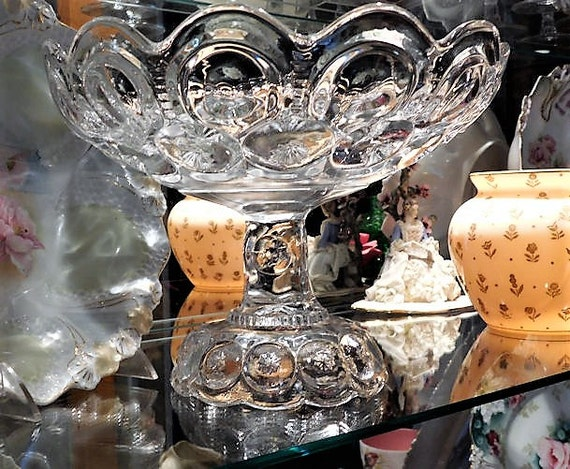 HUGE 1800s Victorian Antique Compote / Adams Palace Glass / Moon and Star