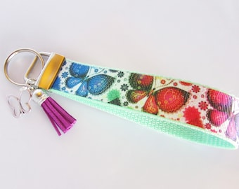 Butterfly Key Fob- Rainbow Butterfly Keychain - Butterfly Keyring - Butterfly Wristlet Key Fob - Butterfly Wristlet - Butterfly Collector