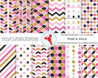 Pink & Gold Digital Paper Set - stripes, arrows, leaves, scallop, patterned paper - personal use, small commercial use, instant download