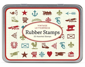 Cavallini Vintage Letterpress Mini Rubber Stamp Set x 20 Vintage Style