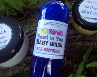 All NATURAL Head to Toe Baby  Shampoo/Baby Wash, extremely GENTLE, Handcrafted, 8 OZ