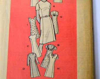 Vintage 60's Sewing Pattern Mail Order 4866 Dress  Princess Styling Bust 34 inches Complete Uncut