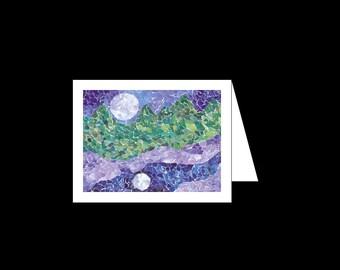 Mosaic  - Greeting Card - Moon's Reflection