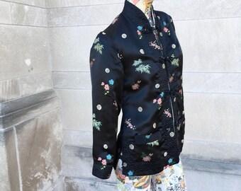 Vintage 60s Asian Inspired Black Satin Jacket   small