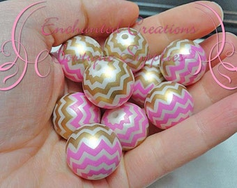20mm Pink, Gold and White Chevron Stripe Pearl Beads Qty 10