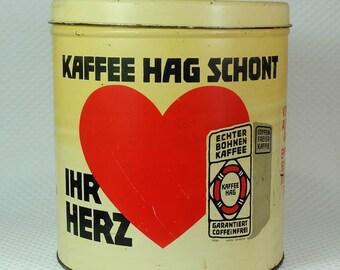 "big round ""Kaffee Hag""  tin can 30s"