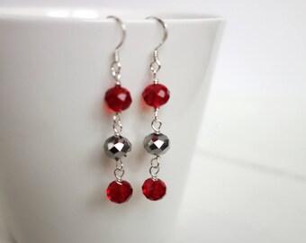 Sparkly dangle earrings red silver earrings three bead earrings drop earrings for women