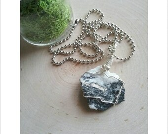 Raw Gemstone Necklace, Zebra Jasper Jewelry, Jasper Necklace, Natural Crystal Necklace, Raw Crystal Jewelry, Wire Wrapped Pendant