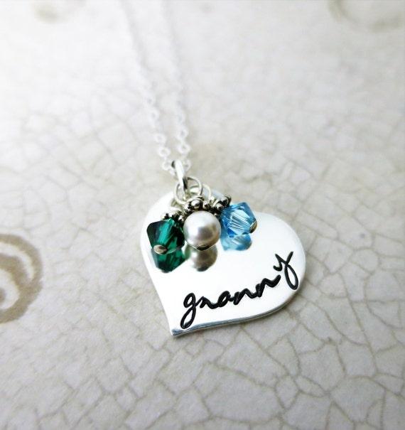 Granny Necklace - Sterling Silver Heart Jewelry - Gift for Grandma - Script Font - Grandkids' Birthstones - Swarovski Crystals