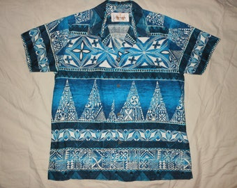 KAMEHAMEHA Vtg 60s M L Turquoise Barkcloth Hawaiian Aloha Tiki Shirt Rockabilly Camp Retro 1960s