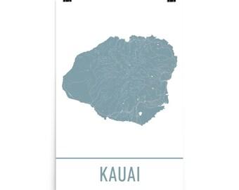 Kauai Map, Kauai Art, Kauai Print, Kauai Poster, Kauai Wall Art, Map of Kauai, Kauai Gift, Kauai Poster, Kauai Decor, Kauai Map Art Print