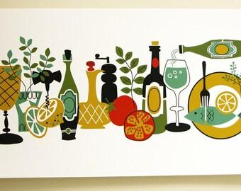 Retro food and wine, cheese, tomato, herbs gardening art modern colorful print original illustration reproduction botanical home decor