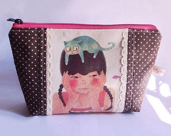 Cat on Girl's Head,  Zipper Big Pouch, Cosmetic Purse, Multi-purpose Pouch, Polka Dots, Illustration Girl