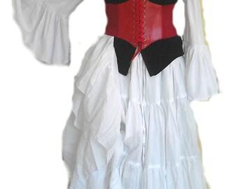 RENAISSANCE CORSET Underbust Waist Cincher Pirate Steampunk Costume Medieval RED 8 Colors Festival