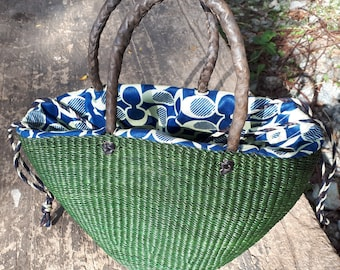 African small woven bag, handmade straw tote purse, ecofriendly handwoven bag, leather handles, green color