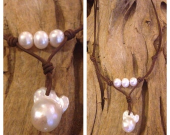 Keshi Pearl and Leather Necklace - Pearls and Leather Necklace - Pearl and Leather Jewelry