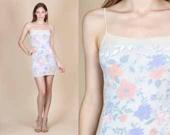 90s Bodycon Velvet Floral Mini Dress - XS to Small // Vintage Boho Grunge Pastel Minidress