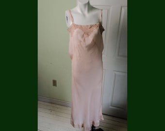 Vintage 1930's Womans Pink Silk Slip Chemise with Piquant Lace