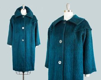 Vintage 1960s Coat | 60s Mohair Wool Dark Teal Winter Swing Coat (medium/large)
