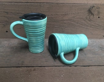 Earth Tone Ceramic Travel Mug with Lid - Twist Closure - Sea Foam Mint Green