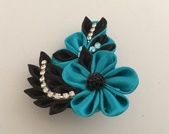 Blue and Black Kanzashi Flower Brooch