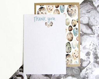 British Bird Egg Pattern Thank You Postcards