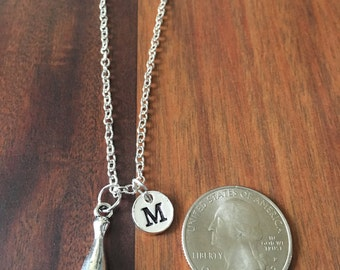 Bowling pin initial necklace, bowling necklace, gift for bowler, bowling jewelry, bowling pin jewelry, silver bowling necklace