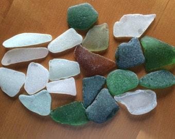20 Large Sea Glass, Genuine Sea Glass, Bulk Sea Glass, Beach Glass, Tumbled Glass, Sea Glass for Crafts