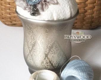 Blue Crystal Pincushion, Glass, Button, Thimble Charm