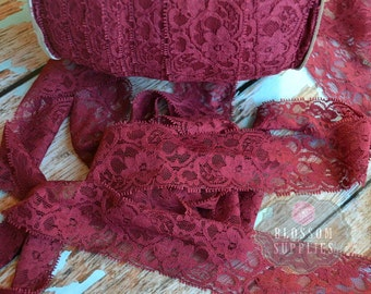 2, 5, and 10 Yards Burgundy Maroon Stretch Lace 2 Inch Wide - Baby Headband Stretch Lace - Lingerie - Dark Red - Elastic Lace DIY Headbands