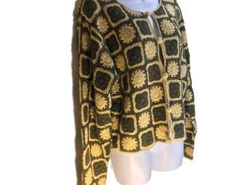 Vintage sz L Granny Square Crochet Cardigan Sweater Robin Sinkler Ramie Cotton 1990s