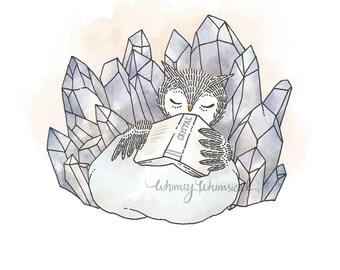 Crystal Quartz IV, Owl - 5x5 Print