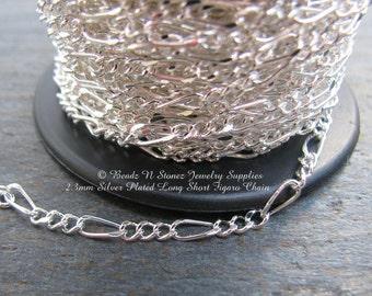 5 Feet Quality Bright Silver Plate 2.3mm Long Short Figaro Bulk Chain