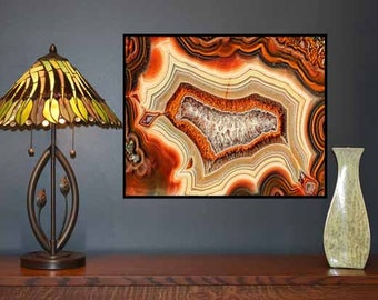 Mineral Photography, (Print #30) Agate Slab, Fine Art Print, Kodak Premier paper, Mineral Geode Agate Crystal Decor