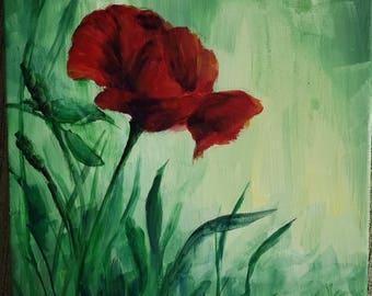 Red Flower in a Gloomy Meadow