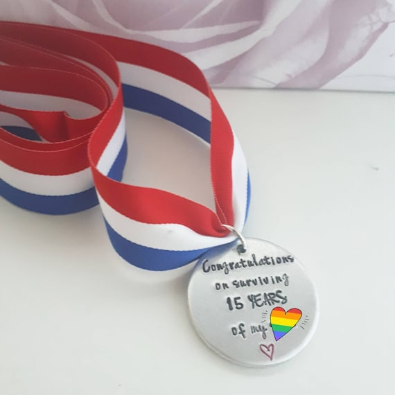 Medal for wedding anniversary, handstamped personalised medal anniversaries