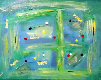 "Balance abstract painting, green and blue abstract artwork, 18"" x 24"", ready to hang"