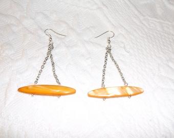 Sterling Orange Mother of Pearl Earrings   MOP Dangle Earrings   Fun Earrings