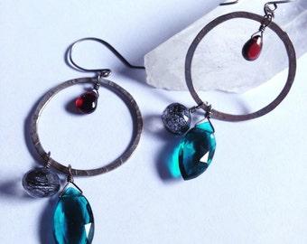 Jeweled Hoop Love - Good Vibes - Seattle Love - Teal Quartz Tourmalinated Quartz Garnet