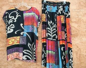 Tunique Vintage Skirt Set ~ chemisier abstrait coloré & Skirt Set ~ rayonne taille 12 usa ~ conception de défilement mosaïque ~ mode d'été ~ écoulement libre